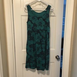 Sonoma sleeveless floral green dress